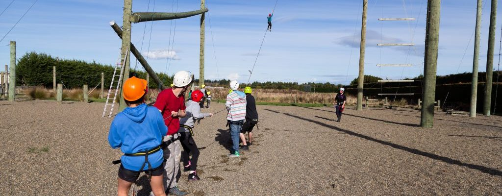 challenge ropes course, flying weka, high ropes, team building, workplace culture, corporate team building